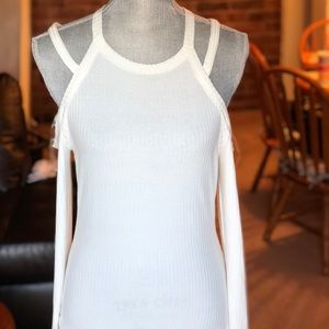 White Cut Out Shoulders Top
